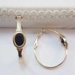 Brinco argola com cristal preto oval