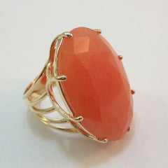 Anel pedra quartzo laranja