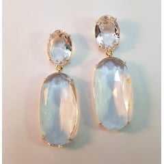 brinco cristal oval - 2 pedras  - cristal white