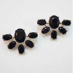 brinco cristais ovais - formato leque   - preto