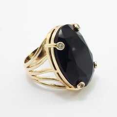 anel pedra cristal preto oval 18x25mm - detalhe em zircônias