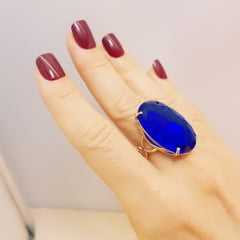 Anel cristal azul safira oval 20x30mm - 2