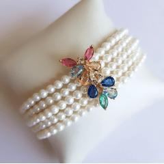 Conjunto pulseira bracelete de pérola shell com cristais multicolor e brinco