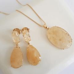 Conjunto clássico de cristal rutilo em gota e oval - colar e brinco