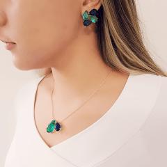 Conjunto premium colar curto e brinco azul safira e verde turmalina