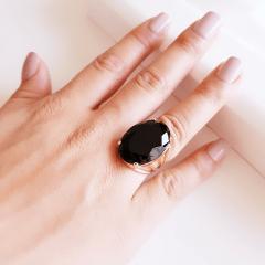 Anel cristal preto ônix oval 18x25mm - modelo 4 aros - numeração pequena