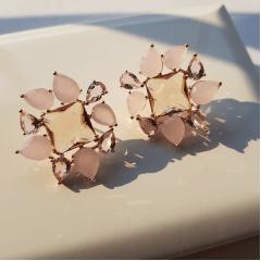 1-Conjunto Della Flora com cristais multicolor rosa - modelo pingente quadrado