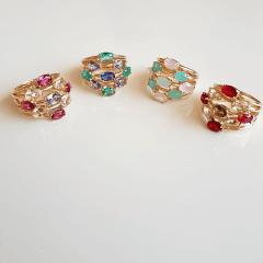 Anel cristais multicolor  modelo Mirela- cor 2