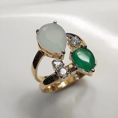 Anel Della Flora - cristais multicolor tom verde - modelo Iza cor3