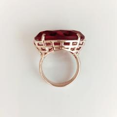 Anel pedra oval cristal vermelho rubi