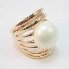 anel aros com pérola shell mabe