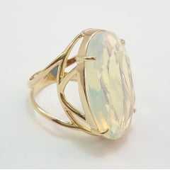 anel pedra cristal  cor branco opala ( pedra da lua ) - modelos variados