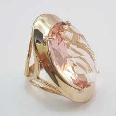anel  cristal cor rosa morganita - modelos variados
