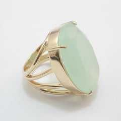 anel pedra cristal cor verde leitoso - modelos variados