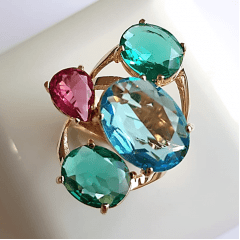 Anel cristais multicolor - modelo Sophia cor 3