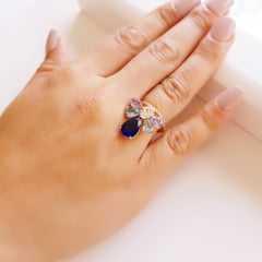 Anel cristais multicolor- modelo Alicia 2