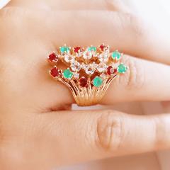 Anel cristais multicolor - modelo Anne Marie cor 5