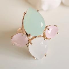Anel cristais multicolor - modelo Charlote 3  , gotas invertidas