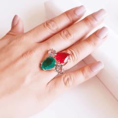 Anel cristais multicolor - modelo Charlote , gotas invertidas