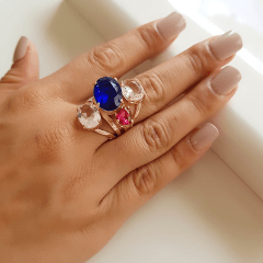 Anel cristais multicolor - modelo Sophia cor 4