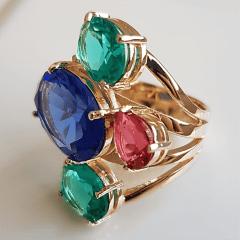 Anel cristais multicolor - modelo Sophia cor 5