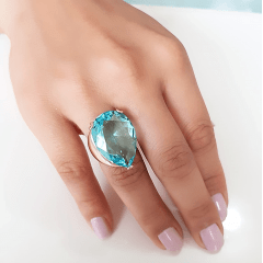 Anel cristal aqua formato gota 25x20mm - modelo Energy