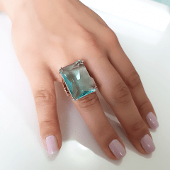 Anel cristal azul aquamarine retangular - 2,5x2cm- Modelo EMMA