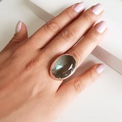 Anel cristal azul aquamarine oval - 25x18mm - Modelo Desiree