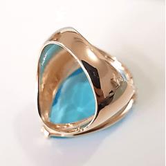 Anel cristal azul aquamarine formato gota 25x20mm - modelo Energy