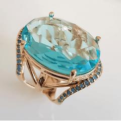 Anel cristal azul aquamarine oval 18x25mm e zircônias turquesa