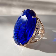 Anel cristal azul safira