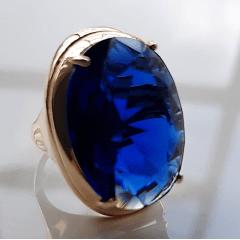 Anel cristal azul safira oval 25x18mm - Modelo Desiree