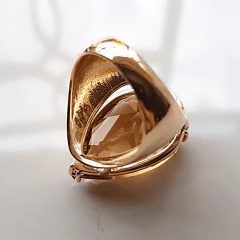 Anel cristal champanhe formato gota 25x20mm - modelo Energy