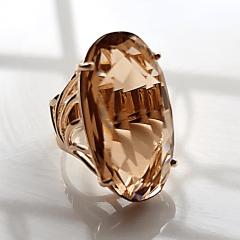 Anel cristal champanhe oval - 30x15mm - modelo Florence