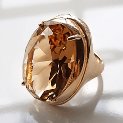 Anel cristal champanhe oval 25x18mm - Modelo Desiree