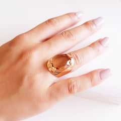 Anel cristal champanhe oval 15x20mm  - linha Lumini