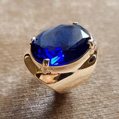 Anel cristal azul safira oval 15x20mm  - linha Lumini - azul safira