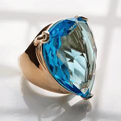 Anel cristal azul aquamarine formato gota 20x25mm - modelo Energy