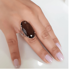 Anel cristal marrom fumê oval - 30x15mm - modelo Florence