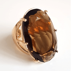 Anel cristal marrom fumê - 30x20mm - Modelo Fiorela