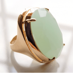 Anel cristal menta leitoso oval 25x18mm - Modelo  Desiree