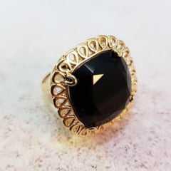 Anel cristal preto ônix quadrado antique 18x18mm