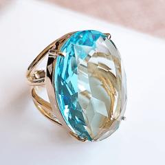 Anel cristal azul aquamarine oval 18x25mm - modelo 4 aros - numeração pequena