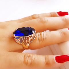 Anel cristal azul safira oval 18x25mm , com lateral desenhada