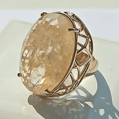 Anel cristal oval rutilo com lateral desenhada