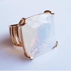 Anel cristal opala ( pedra da lua) quadrada 20x20mm