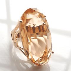 Anel cristal pêssego morganita oval - 30x15mm - modelo Florence
