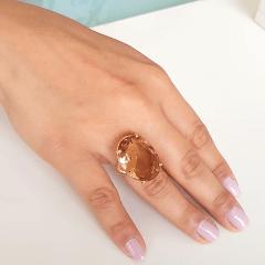Anel cristal pêssego morganita oval 25x18mm - Modelo Dama