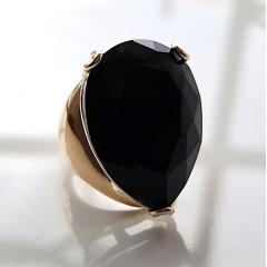 Anel cristal preto ônix formato gota 25x20mm - modelo Energy