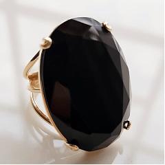 1-Anel cristal preto ônix - 30 x 20mm-  Modelo Dominique